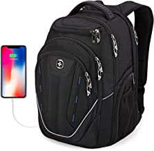 Large Durable Backpack, Swissdigital TSA Friendly Business Laptop Backpack for Men with USB Charging Port/RFID Protection Big Travel Water-Resistant School bags