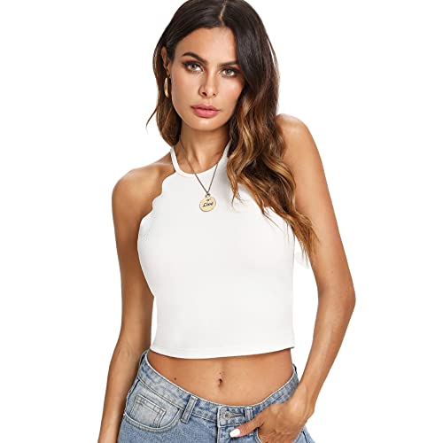 320d0416473fc MAKEMECHIC Women s Solid Halter Neck Cami Scallop Trim Workout Crop Top
