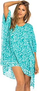 Womens Short Beach Swimsuit Cover up Dress Caftan Poncho Floral
