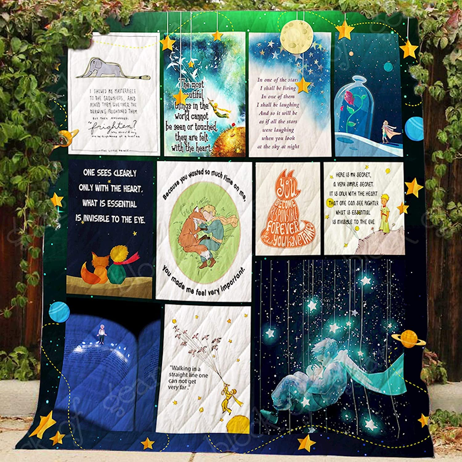 My Little Prince Quilt P406, Queen All-Season Quilts Comforters with Reversible Cotton King Queen Twin Size - Best Decorative Quilts-Unique Quilted for Gifts