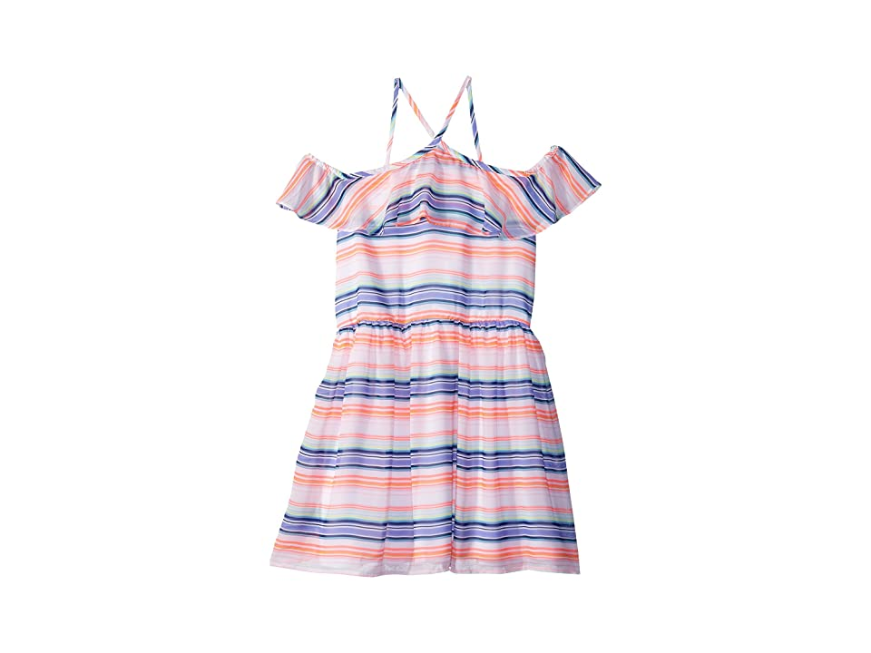 Tommy Hilfiger Kids Printed Multi-Stripe Dress (Big Kids) (White) Girl