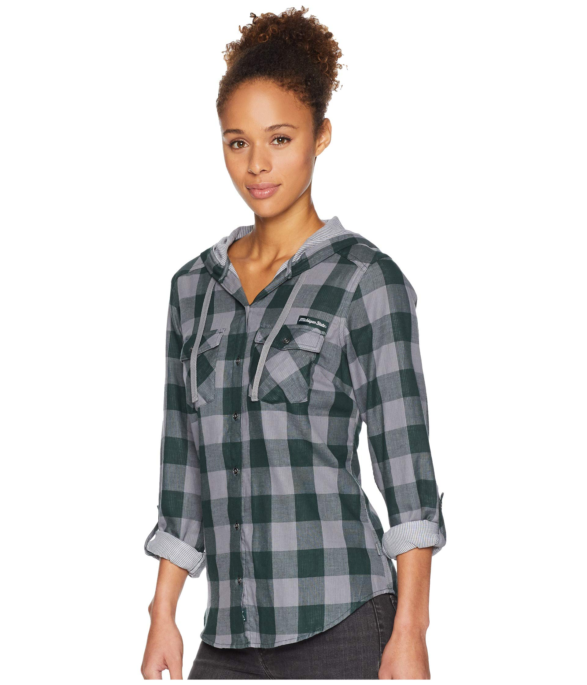 Columbia Shirt Check Hooded Long Times spruce Two™ Collegiate Ms Sleeve rq1paPrW