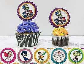 TEEN TITANS GO Cupcake Topper - Party Picks - Birthday - Theme Party - Robin - Raven - Cyborg - Starfire, Beast Boy - Set of 12