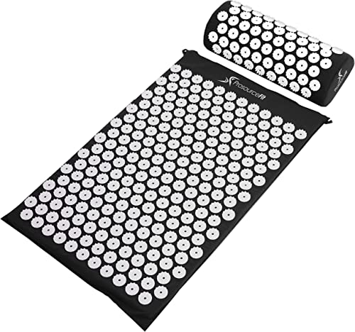 ProSource Acupressure Mat and Pillow Set for Back / Neck Pain Relief and Muscle Relaxation, Black