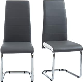 BAÏTA MARA02 Lot de 2 chaises, Simili, Gris et Blanc, 54x42x101cm