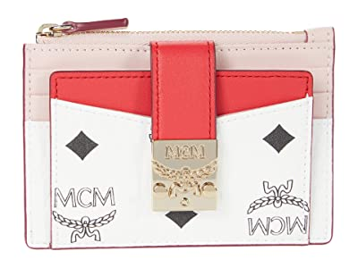 MCM Patricia Visetos Leather Block Card Case Mini (Chinese Red) Handbags