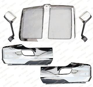QSC Chrome Bumper Corner LH RH Grille Chrome Hood Mirrors for Kenworth T680