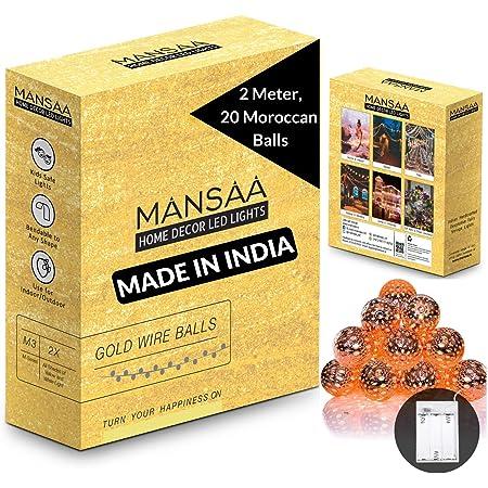 Mansaa® Essentials Battery Operated Copper Fairy String LED Light (Moroccan Balls; 20 Balls 6.6 feet)