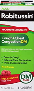 Robitussin Maximum Strength Cough and Chest Congestion DM Non-Drowsy Liquid Box, 8 Fl Oz
