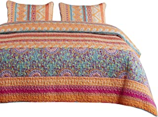 Wake In Cloud - Bohemian Quilt Set, Orange Coral and Green Boho Chic Mandala Pattern Printed, Soft Microfiber Bedspread Coverlet Bedding (3pcs, Queen Size)