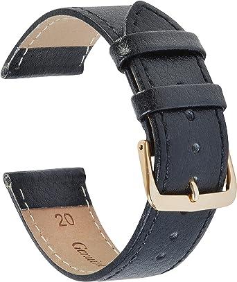 Cinturino di ricambio per orologio da polso in vera pelle, colore nero, 18 mm, 20 mm