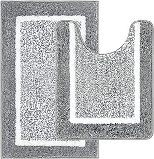 Pauwer Lot de 2 Tapis de Bain Microfibre Antidérapant, Tapis Salle Bain Tapis Toilette WC Absorbant et Doux, Ensemble Tapi...