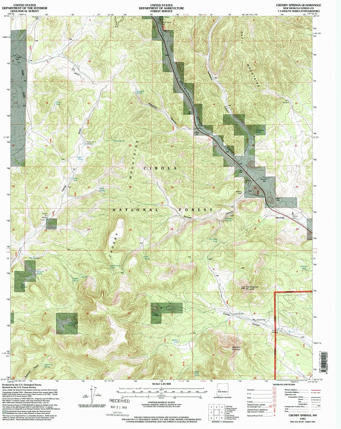 Crosby Springs NM topo map, 1 24000 Scale, 7.5 X 7.5 Minute, Historical, 1995, Updated 1998, 27 x 22 in