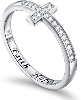 Inspirational Jewelry Sterling Silver Faith Hope Love Sideways Cross Ring, Size 5-10