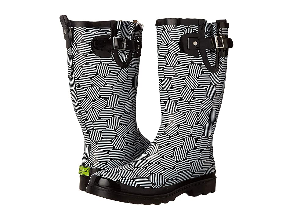 Western Chief Stripe Dot Rain Boot (Black) Women