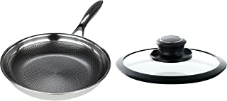 Frieling USA Black Cube Hybrid Stainless/Nonstick Cookware Fry Pan, 9.5-Inch with Lid Set