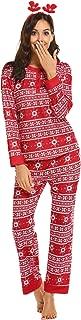Women's Fitted Christmas 2 Piece Pjs Set Sleep Pants O-Neck Long Sleeve Sleepwear
