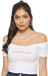 Calvin Klein Jeans Women's Institutional Logo Bardot Top