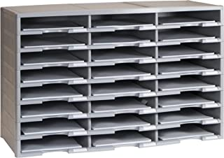"Storex 24-Compartment Literature Organizer, 31.38 x 14.13 x 20.5"", Gray (61434U01C)"