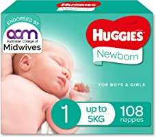 Huggies Newborn Nappies Size 1 (Up To 5kg) 108 Count