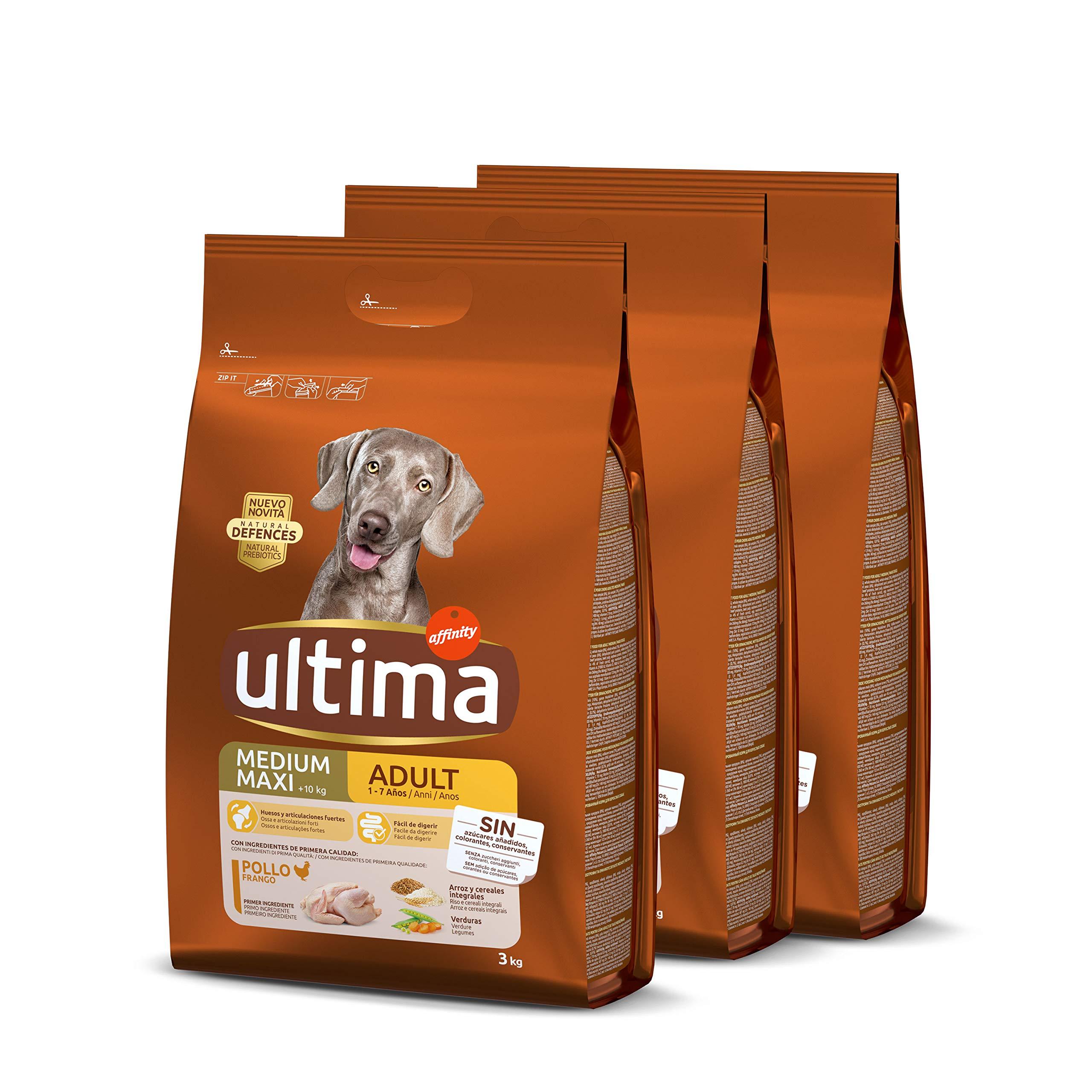 ultima Pienso para Perro Medium-Maxi Adulto con Pollo, Pack de 3 x 3 kg - Total 9 kg: Amazon.es: Productos para mascotas