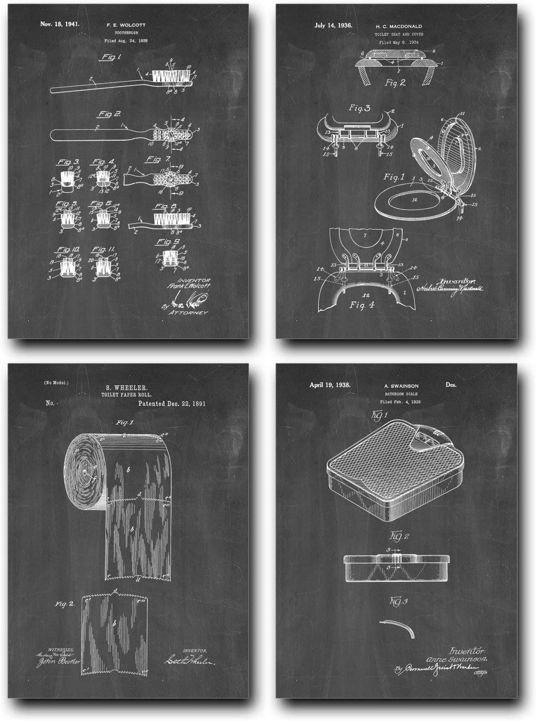 New products world's highest quality popular Bathroom Patent Print Set of Four 5