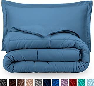 Bare Home Comforter Set - Full/Queen - Goose Down Alternative - Ultra-Soft - Premium 1800 Series - Hypoallergenic - All Season Breathable Warmth (Full/Queen, Coronet Blue)