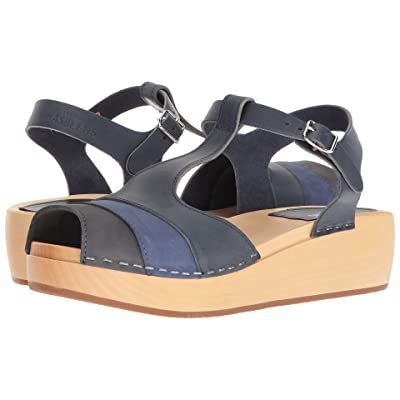 Swedish Hasbeens 90s T-Strap Wedge (Blue Nubuck Color Combo) Women