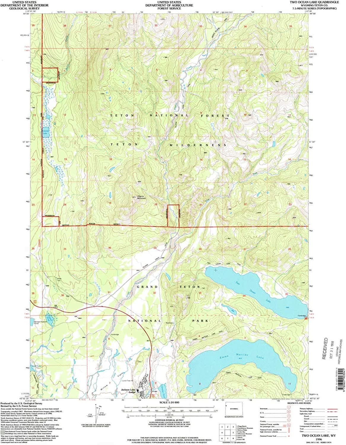 Two Ocean Lake WY topo map, 1 24000 Scale, 7.5 X 7.5 Minute, Historical, 1996, Updated 1998, 26.8 x 22 in