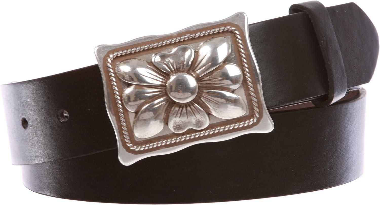 1 1 2  Women's Snap On Rectangular Western Engraving Floral Flower Silver Decorative Buckle With Black Belt, Black   M  34 36