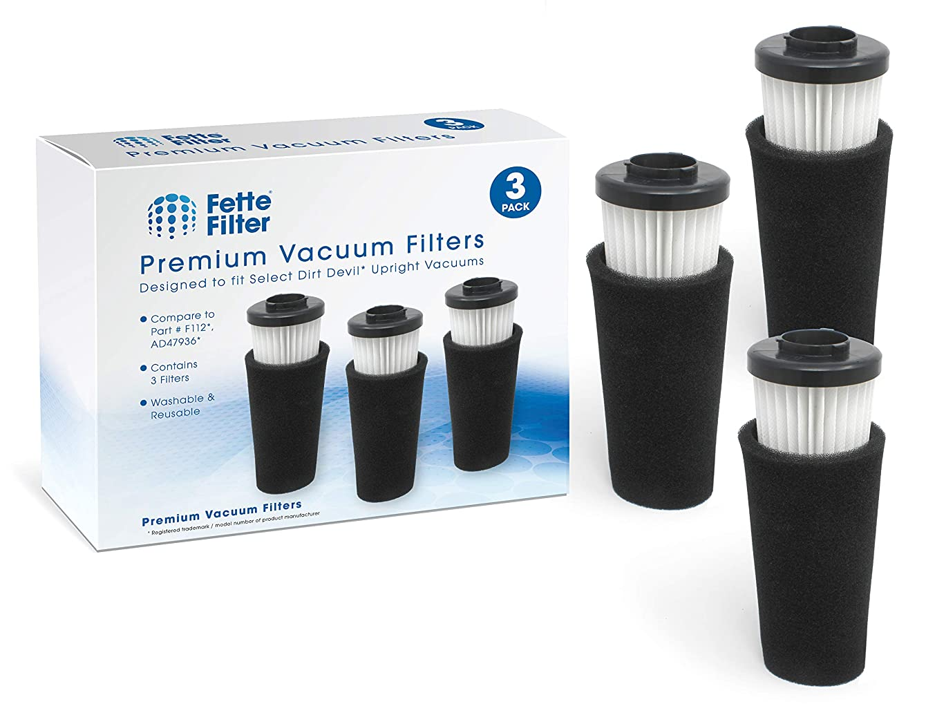 Fette Filter - Pre Motor Odor Trapping Filter Compatible with Dirt Devil Endura. Compare to Part F112. Pack of 3.