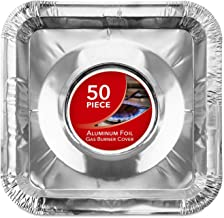 Gas Burner Liners (50 Pack) Disposable Aluminum Foil Square Stove Burner Covers –..