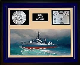 Navy Emporium USS HALE DD 642 Framed Navy Ship Display Blue