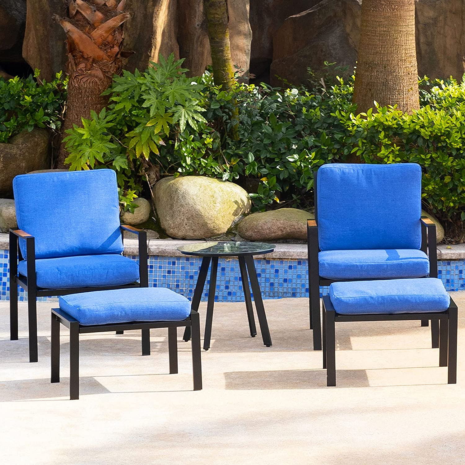 Sunnyfeel 5 Piece Outdoor Patio Furniture Set, Metal Patio Conversation Sets with Soft Padded Cushions Lounge Chair & Ottomans, Small Side Table, Bistro Set for Porch/Backyard/Pool/Garden/Lawn (Blue)