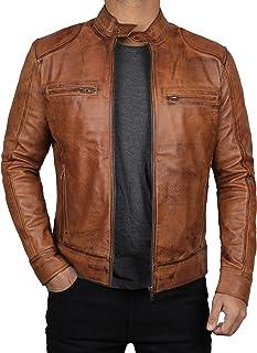 Black Mens Lambskin Leather Moto Jacket | Dodge Tan, 3XL