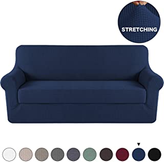 Turquoize 2 Pieces Navy Blue Sofa Slipcovers Spandex Jacquard Couch Cover with Separate Cushion Furnitue Cover/Slipcover, Machine Washable Sofa Covers with Elastic Bottom Fully Covered (Sofa, Navy)