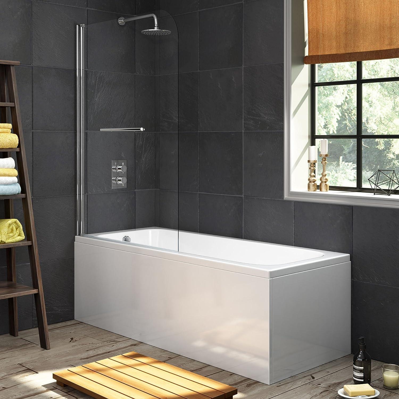 1700 mm Single Ended Bath Modern Straight Bathtub + 1000mm Shower Screen with Rail