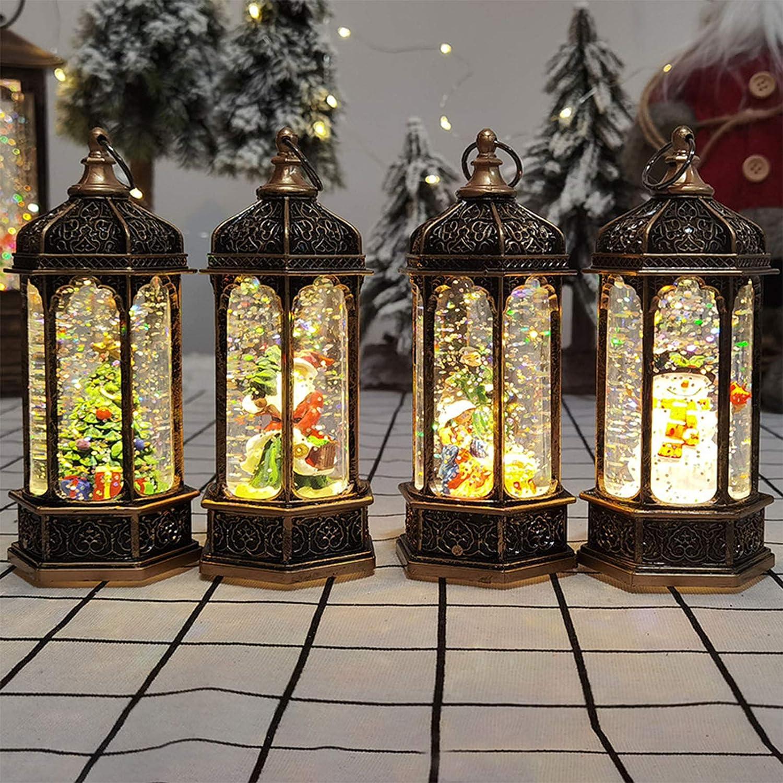 Farol de Navidad LED con lentejuelas de cristal decoraci/ón de Navidad y regalo port/átil Jesus