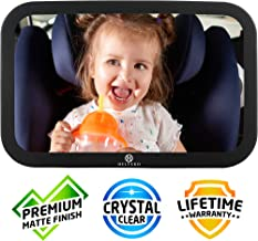 Helteko Baby Car Mirror - View of Infant in Rear Facing Car Seat - Stable and Shatterproof Backseat Mirror for Child with Wide Crystal Clear View - Easy Adjustable 360° - Crash Tested Secure