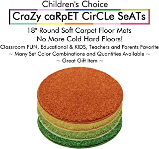 """Set 4 - Summer Days Kids Crazy Carpet Circle Seats 18"""" Round Soft Warm Floor Mat - Cushions   Classroom, Story Time, Group Activity, Time-Out Spot Marker and Fun. Home Bedroom & Play Areas"""