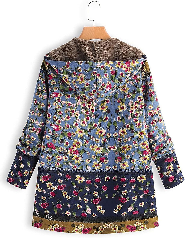 Women's Zip Up Floral Printted Hooded Overcoat Outwear Plus Size Long Sleeve Zipper Hoodie Pullover Coat Tops Jacket