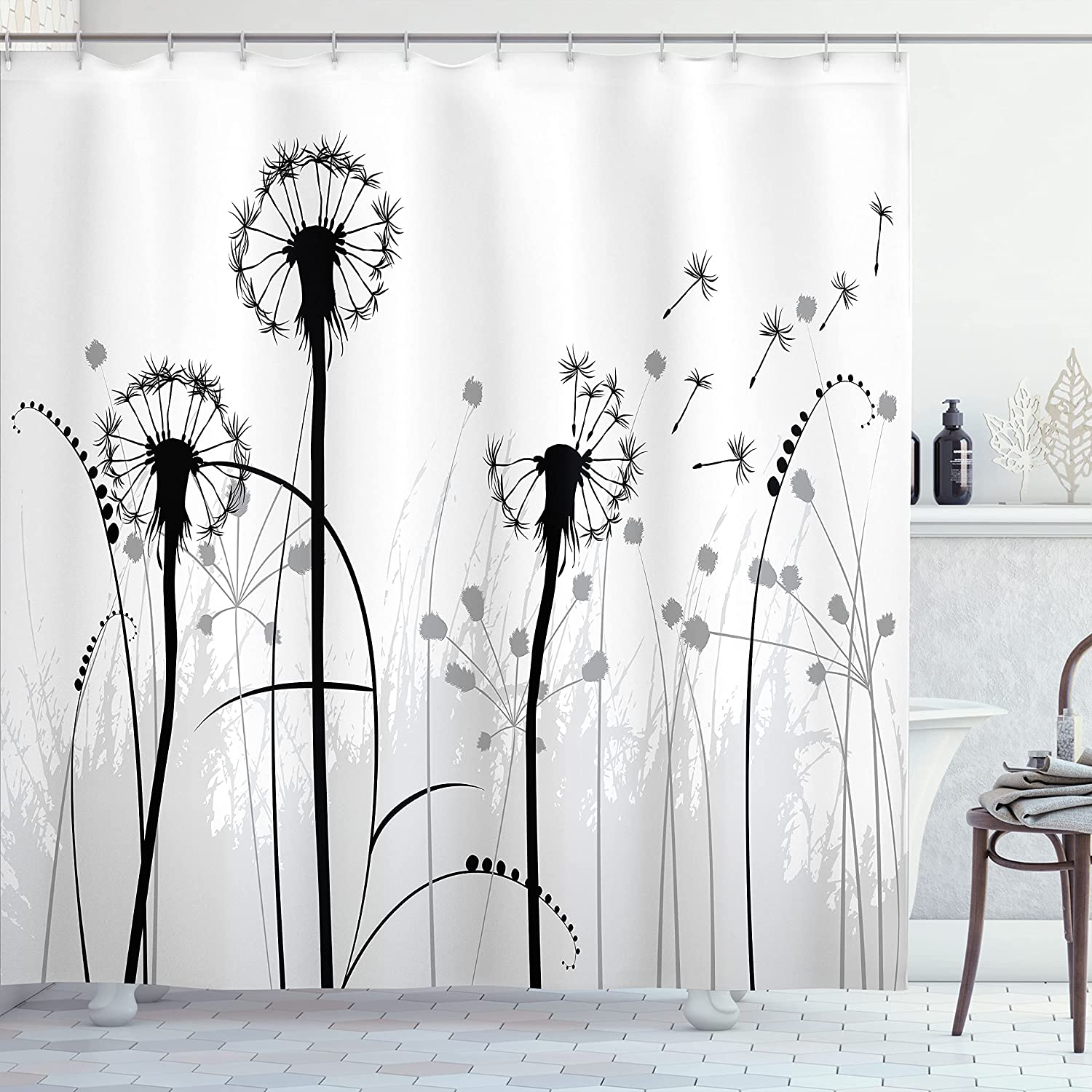 Ambesonne Spring Shower Curtain Free Shipping Cheap Charlotte Mall Bargain Gift Fol Silhouette Floral Dandelion