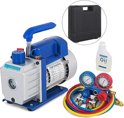 discount SHZOND Vacuum Pump 3.5CFM 1/4HP Single Stage Air Vacuum Pump HVAC with R134A Kit outlet online sale AC A/C Manifold Gauge online sale Set online