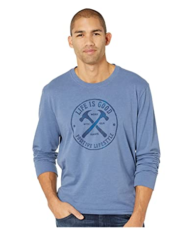Life is Good Positive Lifestyle Hammers Long Sleeve Crusher Tee (Heather Vintage Blue) Men