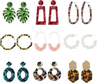 Acrylic Earrings for Women Drop Earrings Fashion Dangle Earrings Bohemian Dangling Earrings 9 Pairs