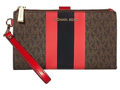 MICHAEL Michael Kors Jet Set Double Zip Wristlet (Brown/Bright Red) Handbags