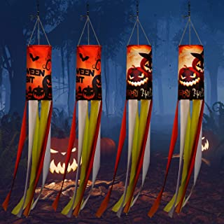 WILLBOND 4 Pieces 40 Inch Halloween Pumpkin Ghost Windsock Flag Outdoor Hanging Decoration Large Halloween Theme Garden Wi...