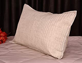 "RRC Quilted Self Texture Print Cotton Pillow Covers Set of 2-18"" x 27"" (Light Brown)"