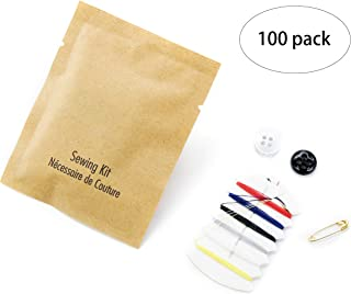 BIO CORN Embroidery Small Sewing kit, Packed in Separate Kraft Paper Bags (case of 100)