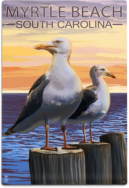 Lantern Press Max 45% OFF Myrtle Beach South 12x18 Now free shipping Seagulls Carolina Alum